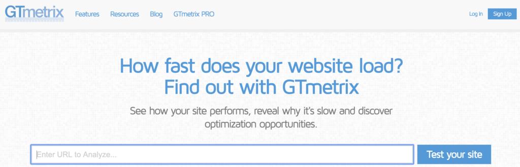 gtmetrix outil de vitesse de site