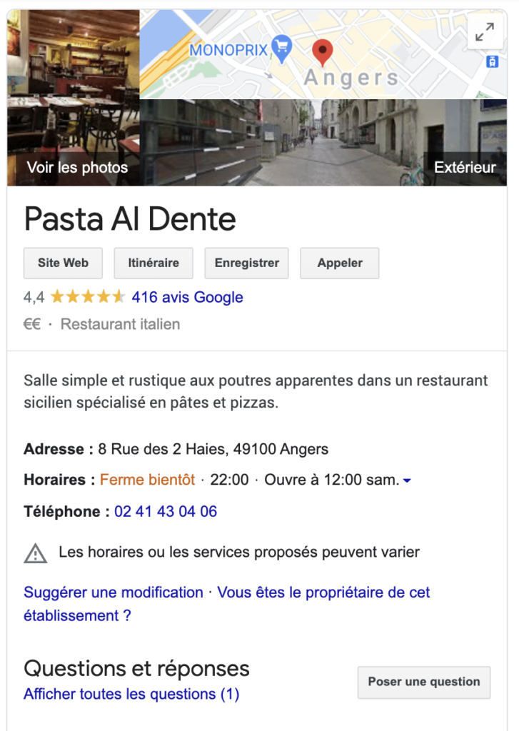 exemple de fiche google my business